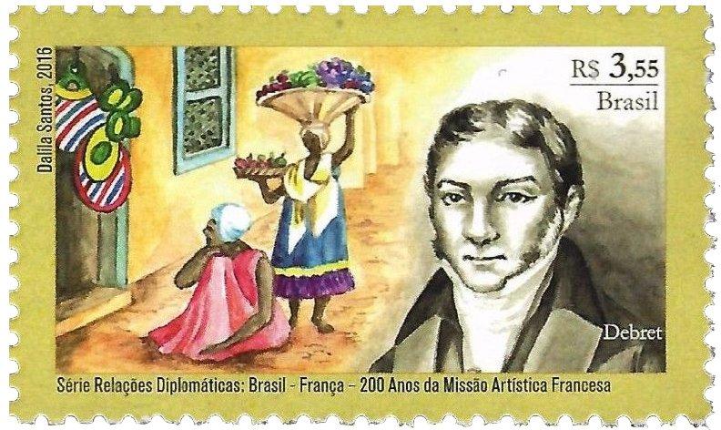 image of a Brazilian postage stamp honoring Debret